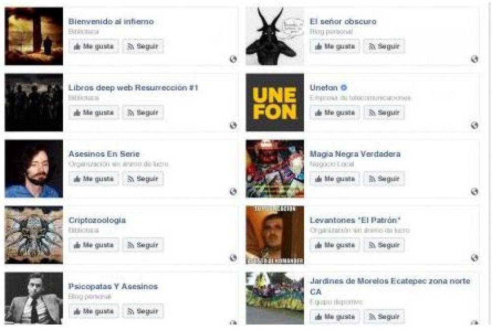 Juan Carlos N, usuarios y paginas que seguía en Facebook