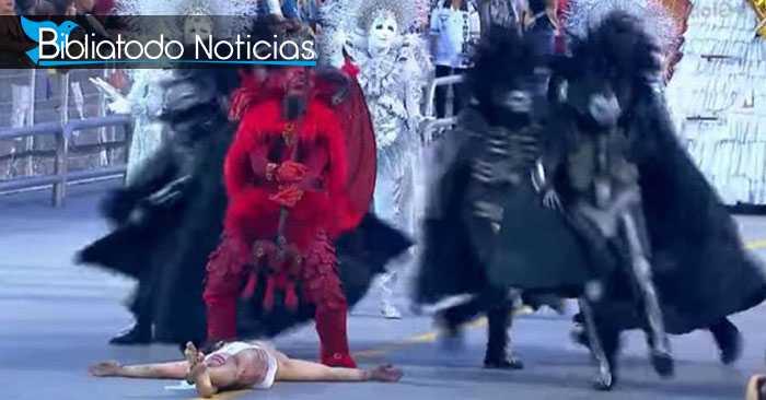 Escena donde satanás vence a Jesús en Carnaval de Brasil de este año